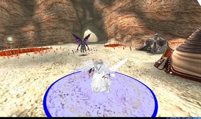 ゴルドゥーン第1形態 - プレイヤー中心浮動円形青床[弾丸]