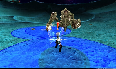 月見の大蟹第2形態 - プレイヤー中心円形青床[隕石]
