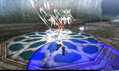 死霊使いウササマ第2形態 - プレイヤー中心円形青床[隕石] + ゲシュペクター3体